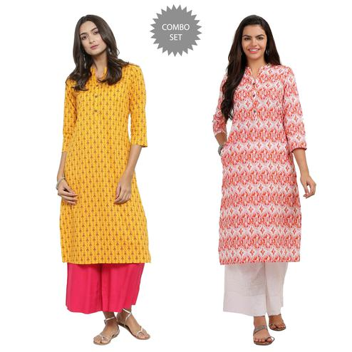 Refreshing Casual Printed Cotton Kurti - Pack of 2