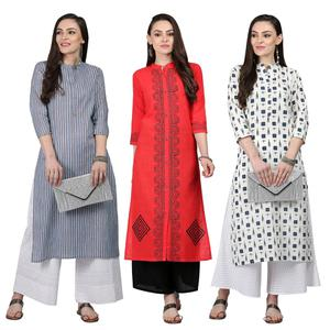 Magnetic Casual Printed Cotton Kurti - Pack of 3