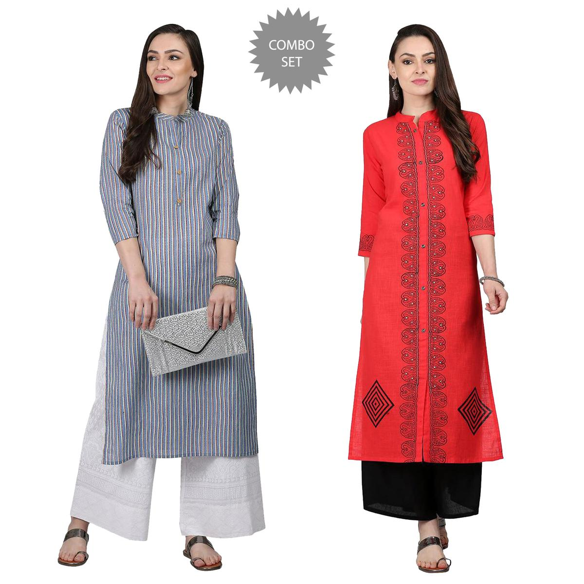 Hypnotic Casual Printed Cotton Kurti - Pack of 2