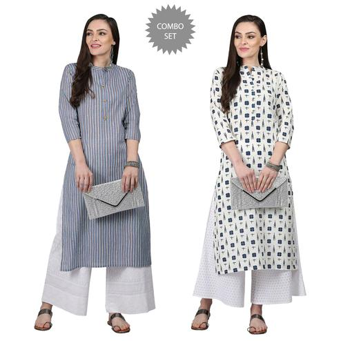 Flattering Casual Printed Cotton Kurti - Pack of 2