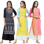 Adorable Colored Casual Printed Rayon Kurti - Pack of 3