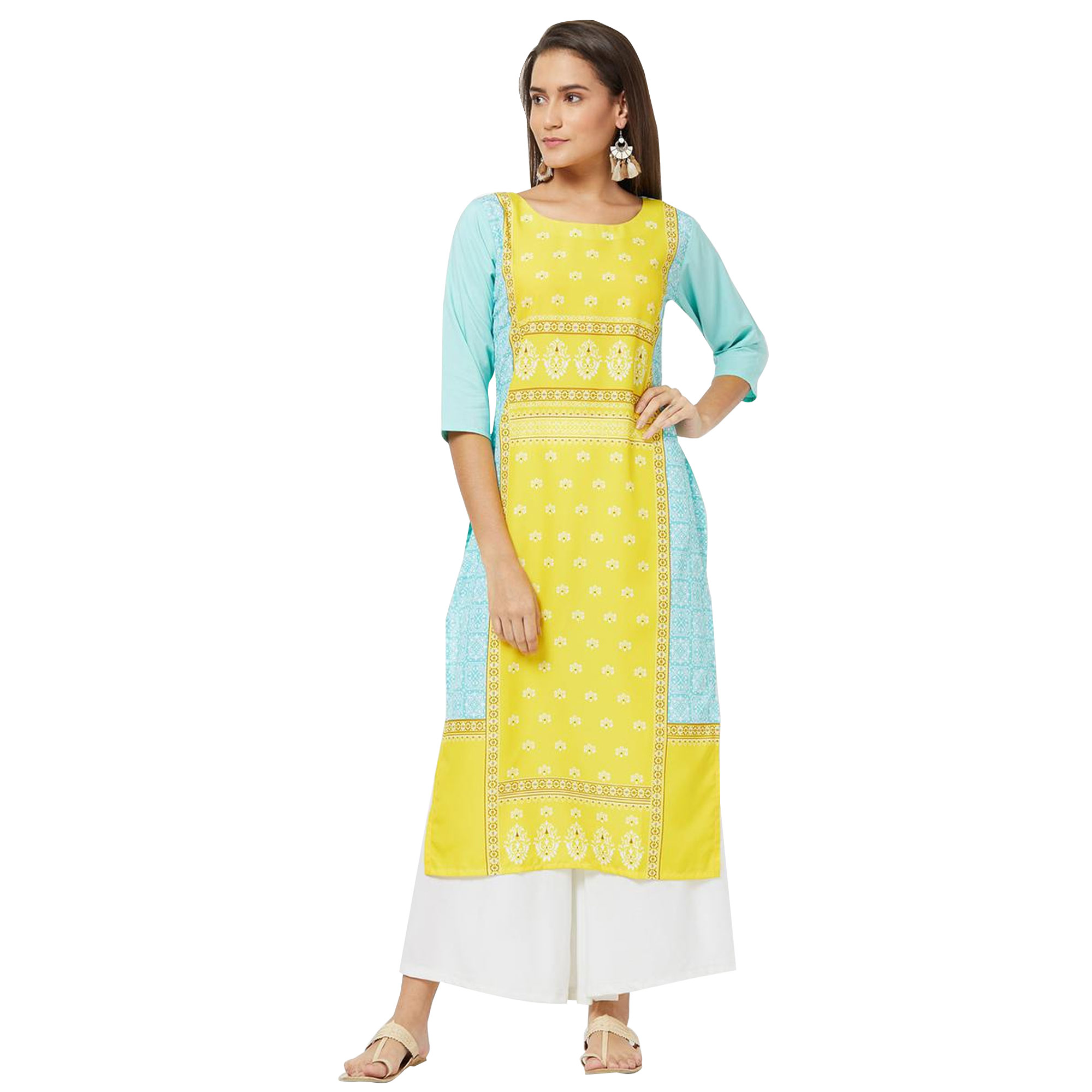 Glorious Colored Casual Printed Rayon Kurti - Pack of 2