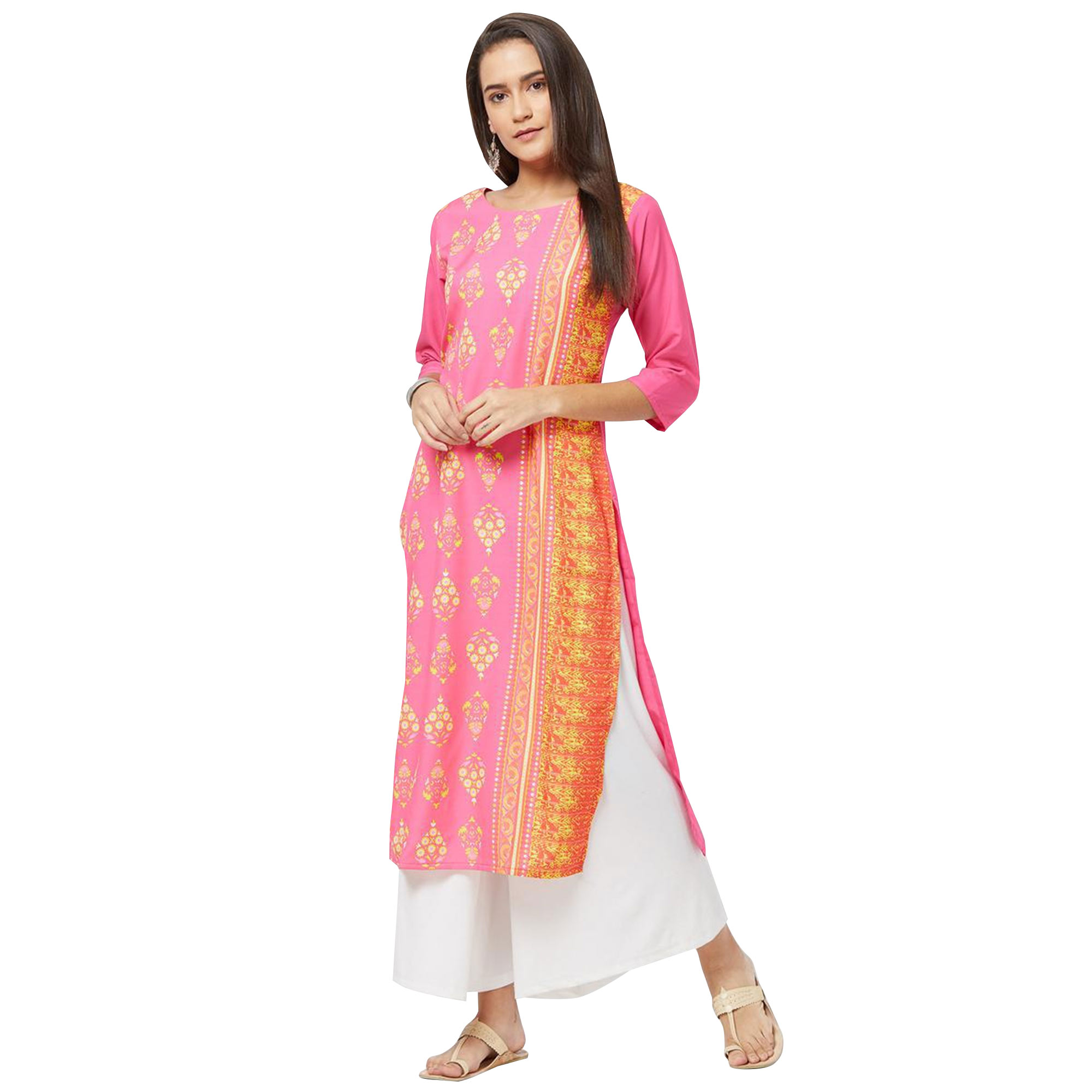 Attractive Colored Casual Printed Rayon Kurti - Pack of 2