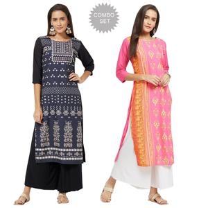 Beautiful Colored Casual Printed Rayon Kurti - Pack of 2