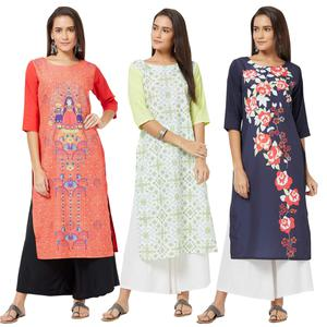 Graceful Colored Casual Printed Rayon Kurti - Pack of 3