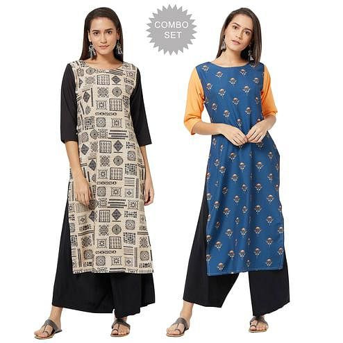 Engrossing Colored Casual Printed Rayon Kurti - Pack of 2