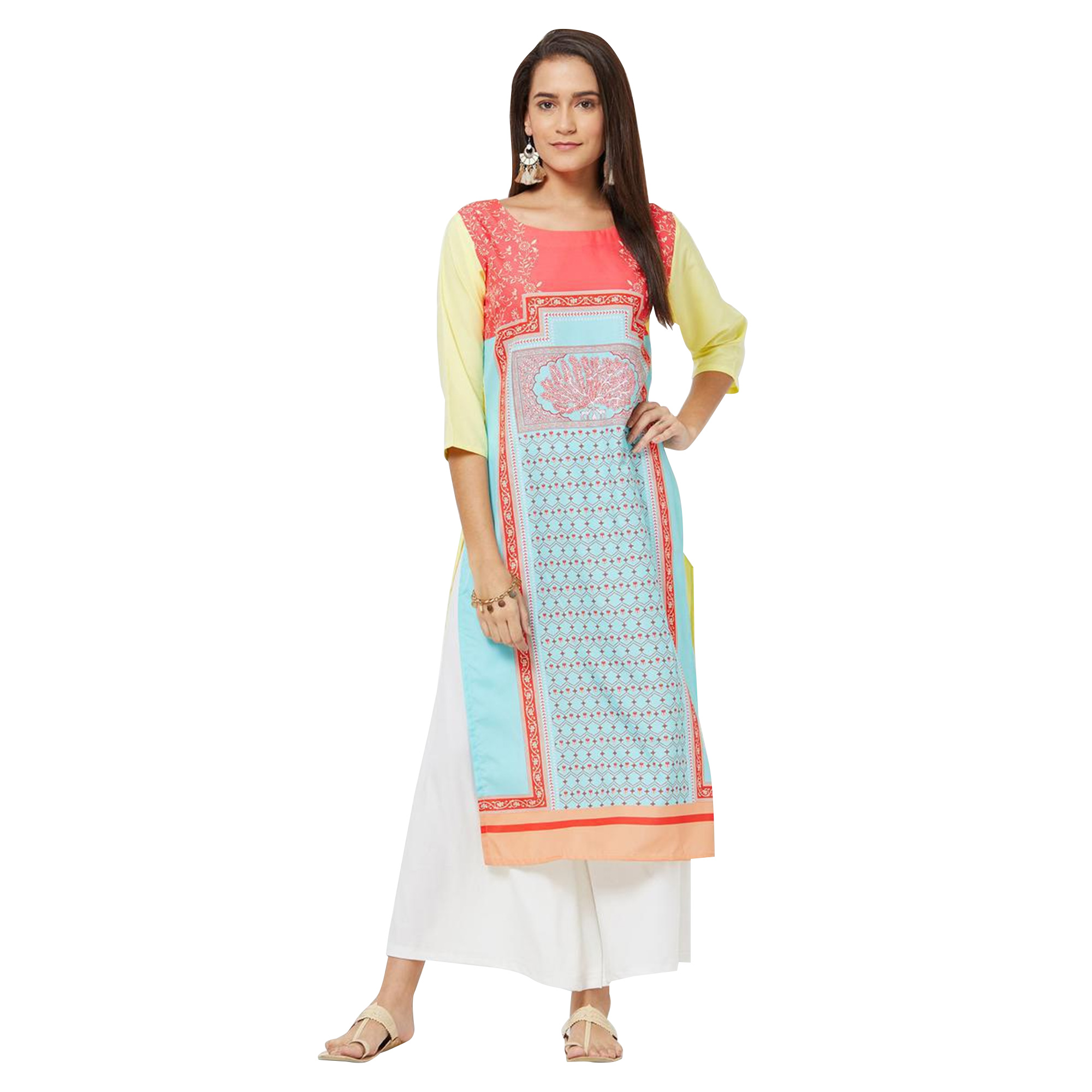 Captivating Colored Casual Printed Rayon Kurti - Pack of 2