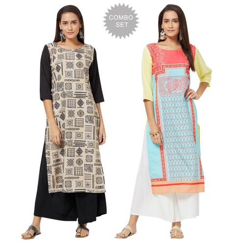 Innovative Colored Casual Printed Rayon Kurti - Pack of 2