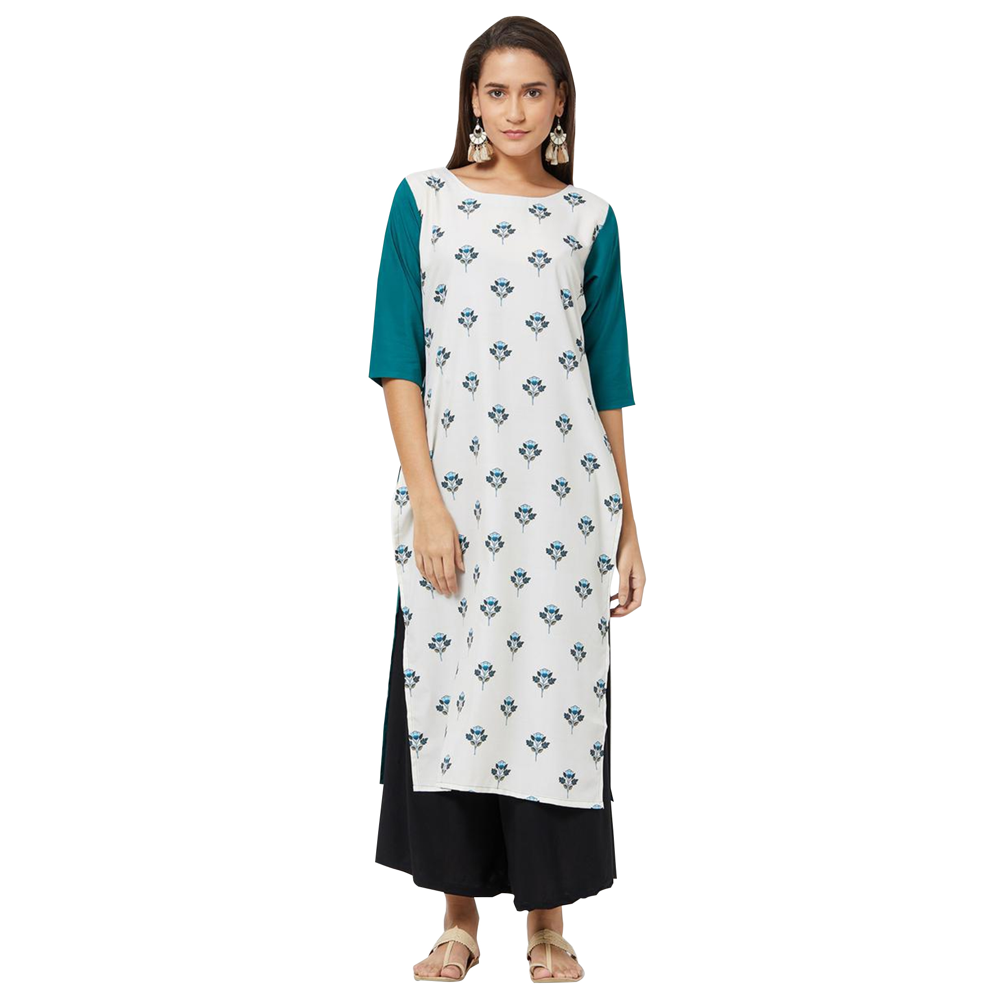 Eye-catching Colored Casual Printed Rayon Kurti - Pack of 3