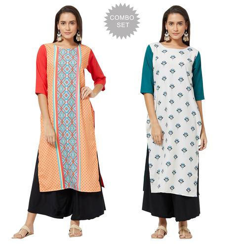 Fantastic Colored Casual Printed Rayon Kurti - Pack of 2