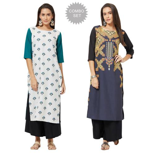 Amazing Colored Casual Printed Rayon Kurti - Pack of 2