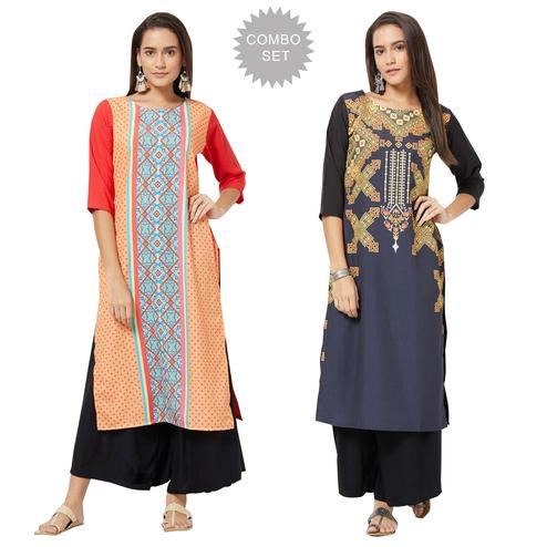 Gorgeous Colored Casual Printed Rayon Kurti - Pack of 2
