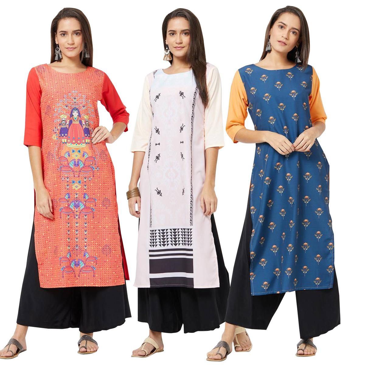 Blissful Colored Casual Printed Rayon Kurti - Pack of 3