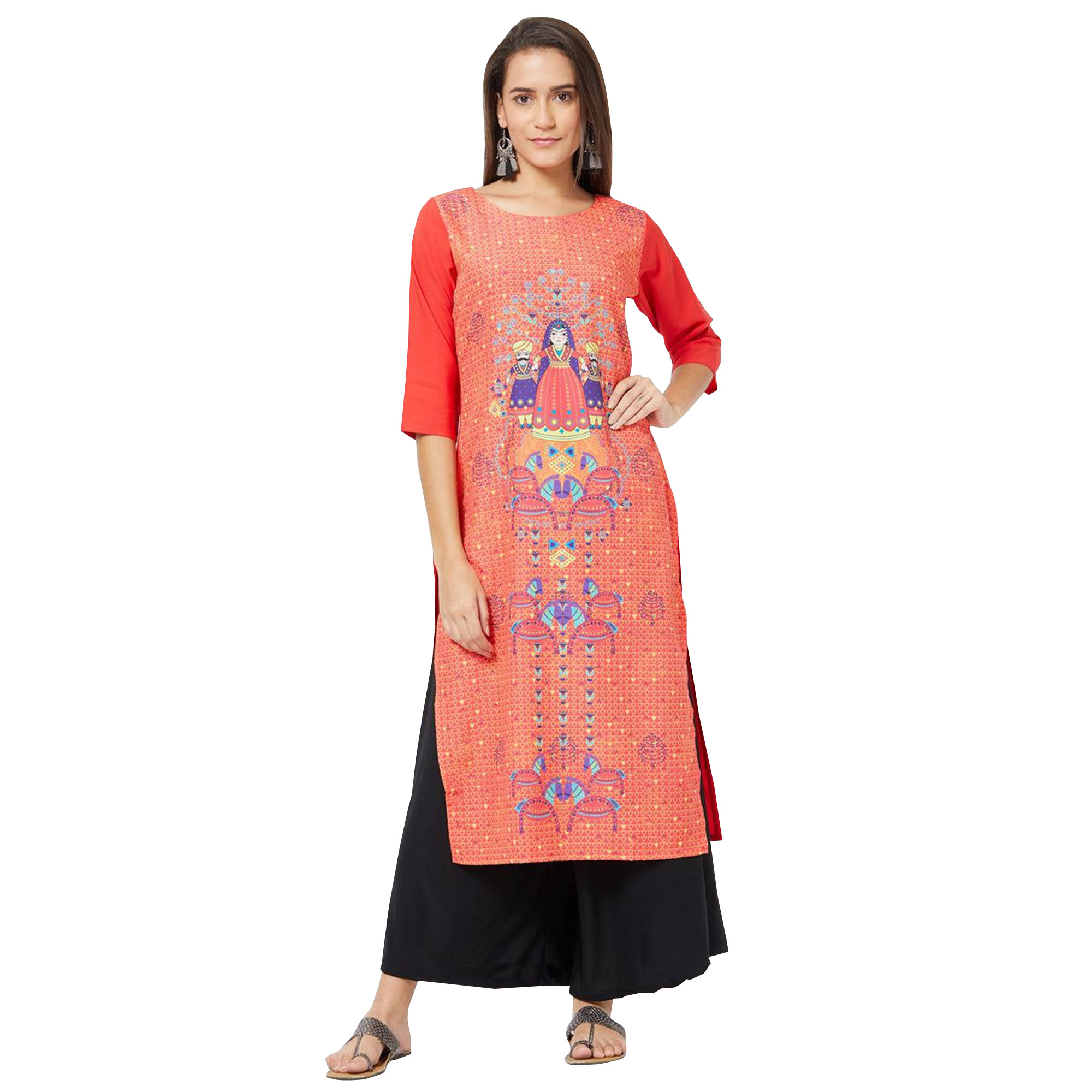 Ideal Colored Casual Printed Rayon Kurti - Pack of 2