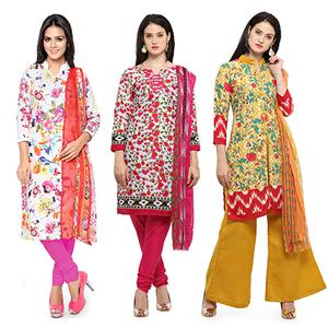 Marvellous Printed Casual Wear Cotton Dress Materials - Pack of 3