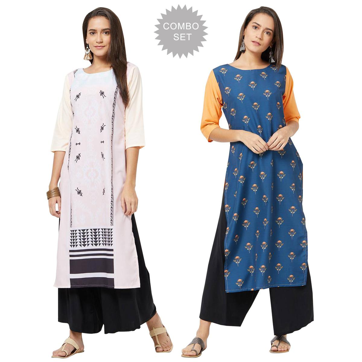 Imposing Colored Casual Printed Rayon Kurti - Pack of 2