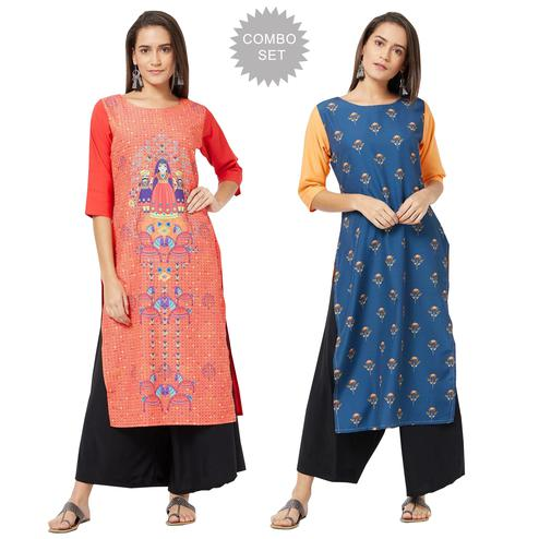 Lovely Colored Casual Printed Rayon Kurti - Pack of 2