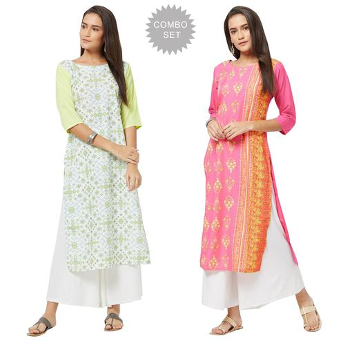 Impressive Colored Casual Printed Rayon Kurti - Pack of 2