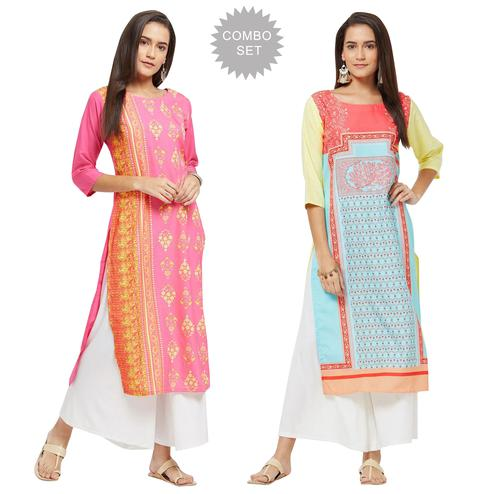 Mesmerising Colored Casual Printed Rayon Kurti - Pack of 2