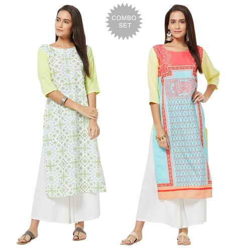 Surpassing Colored Casual Printed Rayon Kurti - Pack of 2