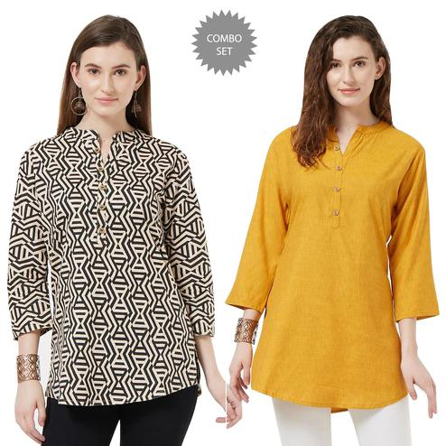 Unique Casual Printed Short Kurti - Pack of 2