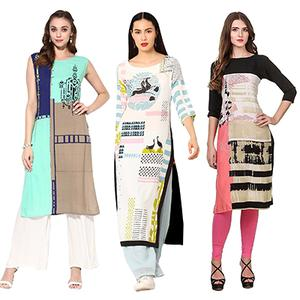 Marvellous Printed Casual Wear American Crape Kurtis - Pack of 3