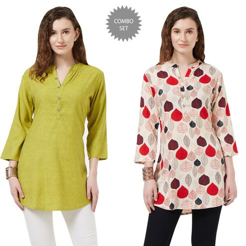 Marvellous Casual Printed Short Kurti - Pack of 2