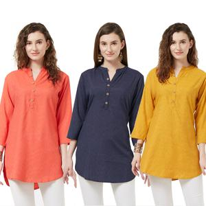 Magnetic Casual Wear Cotton Short Kurti - Pack of 3
