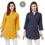 Hypnotic Casual Wear Cotton Short Kurti - Pack of 2