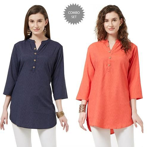 Opulent Casual Wear Cotton Short Kurti - Pack of 2