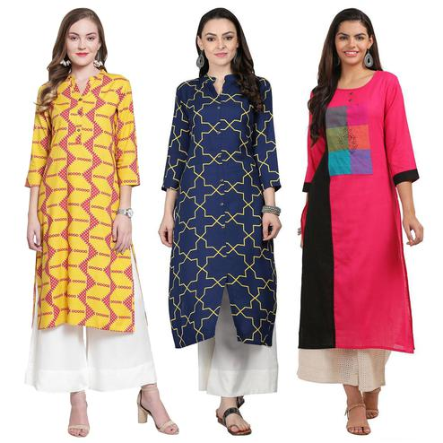 Trendy Casual Printed Rayon-Cotton Kurti - Pack of 3