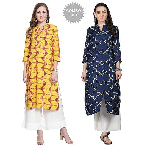 Elegant Casual Printed Cotton Kurti - Pack of 2
