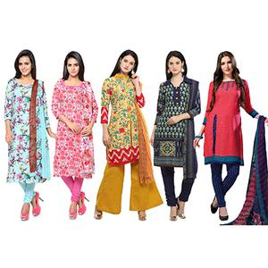 Graceful Printed Casual Wear Cotton Dress Materials - Pack of 5