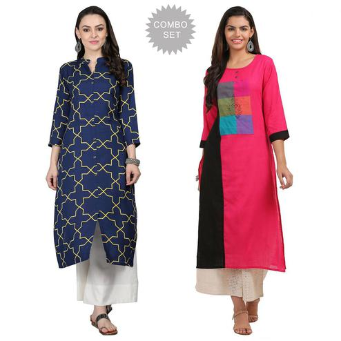 Pleasant Casual Printed Rayon-Cotton Kurti - Pack of 2