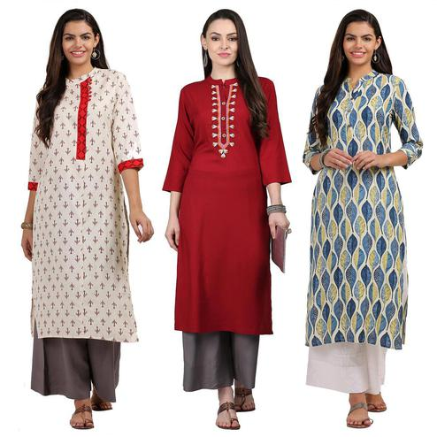 Opulent Casual Printed Cotton-Rayon Kurti - Pack of 3
