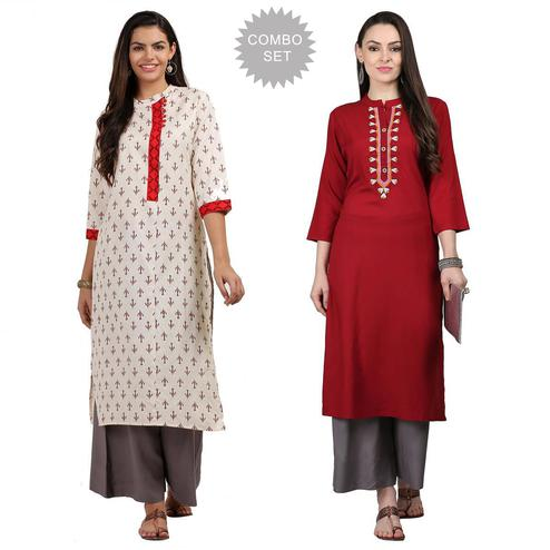 Energetic Casual Printed Cotton-Rayon Kurti - Pack of 2
