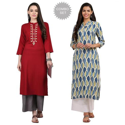 Gleaming Casual Printed Rayon Kurti - Pack of 2