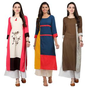 Graceful Casual Wear Cotton Kurti - Pack of 3