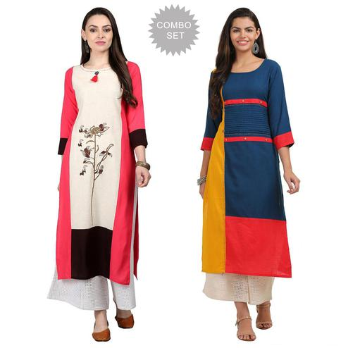 Blooming Casual Wear Cotton Kurti - Pack of 2