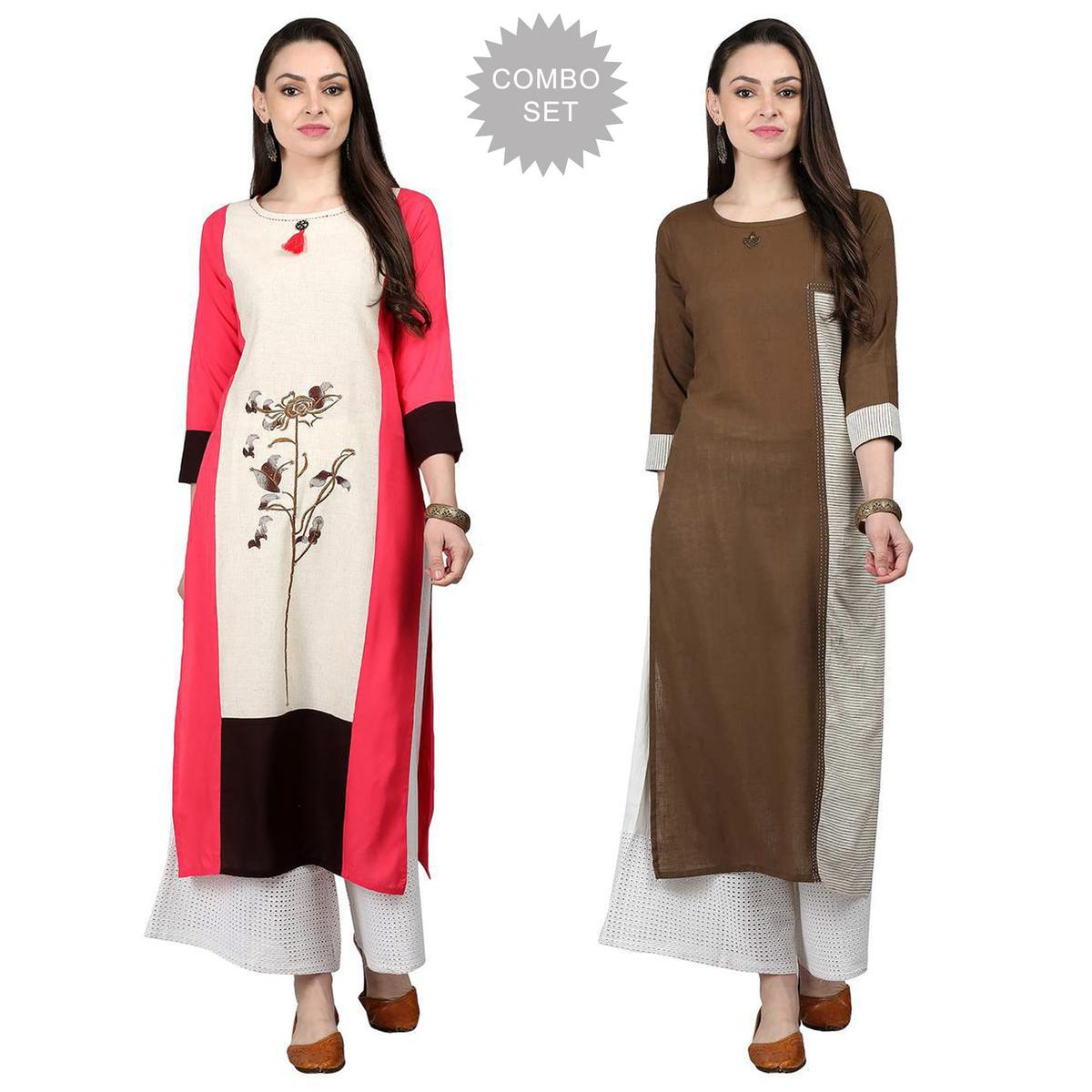 Delightful Casual Wear Cotton Kurti - Pack of 2