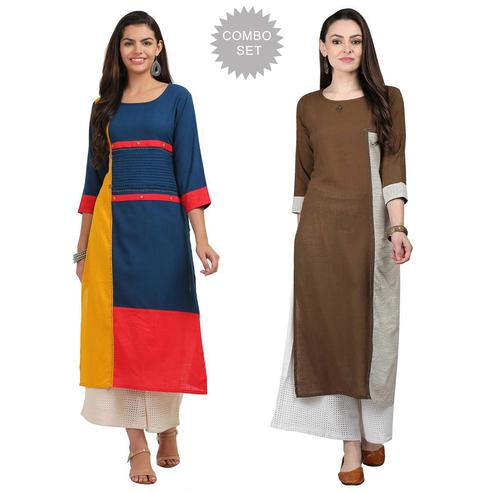 Captivating Casual Wear Cotton Kurti - Pack of 2