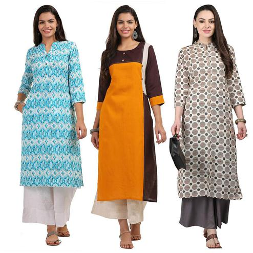 Gorgeous Casual Printed Cotton Kurti - Pack of 3