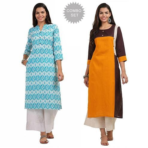 Blissful Casual Printed Cotton Kurti - Pack of 2