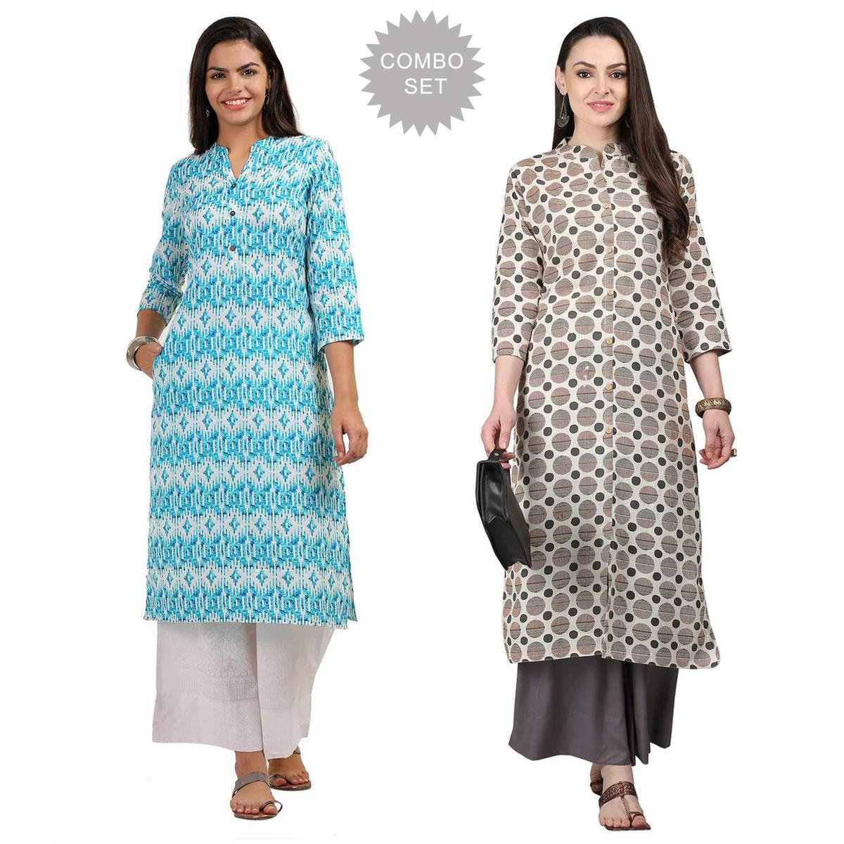 Lovely Casual Printed Cotton Kurti - Pack of 2