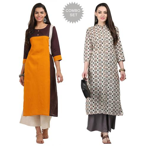 Impressive Casual Printed Cotton Kurti - Pack of 2