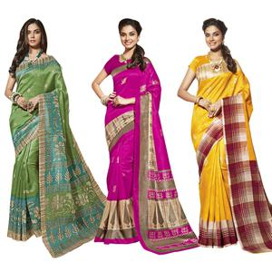 Energetic Casual Printed Bhagalpuri Silk Saree - Pack of 3
