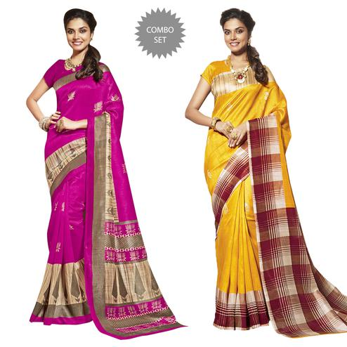 Gleaming Casual Printed Bhagalpuri Silk Saree - Pack of 2