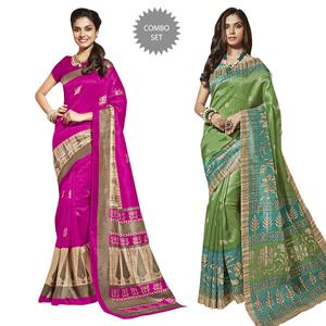 Alluring Casual Printed Bhagalpuri Silk Saree - Pack of 2