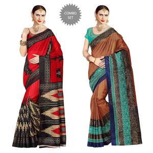 Staring Partywear Printed Zoya Silk Saree - Pack of 2