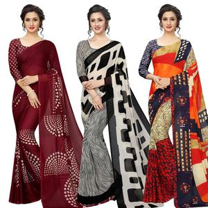Gorgeous Casual Printed Georgette Saree - Pack of 3